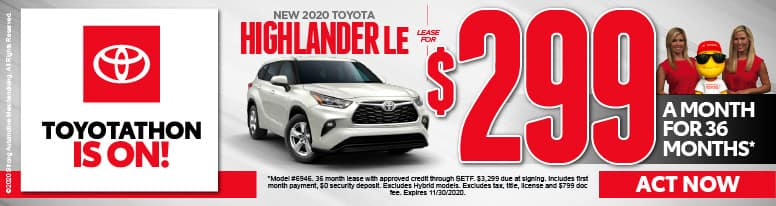 New 2020 Toyota Highlander $299 per month - click here to view inventory