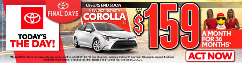 New 2021 Toyota Corolla - Lease for $159 a month - Click to View Inventory