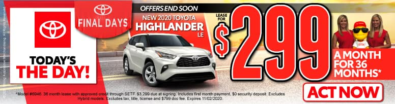 New 2020 Toyota Highlander - Lease for $299 a month - Click to View Inventory