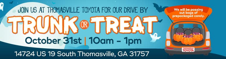 Join us at Thomasville Toyota for our drive by Trunk or Treat - Oct. 31 - 10am-1pm