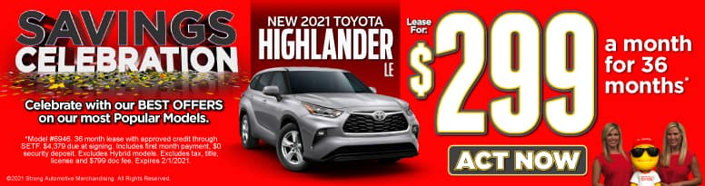 New 2021 Toyota Highlander | Lease for $299 a month | Act Now
