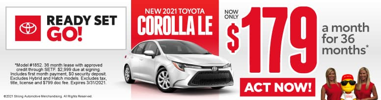 New 2021 Toyota Corolla - Now Only $179 a month - Act Now