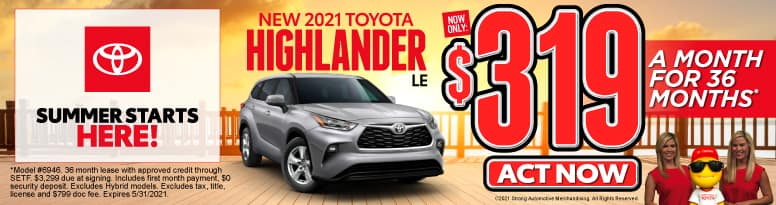 New 2021 Toyota Highlander - Now Only $319 a month - Act Now