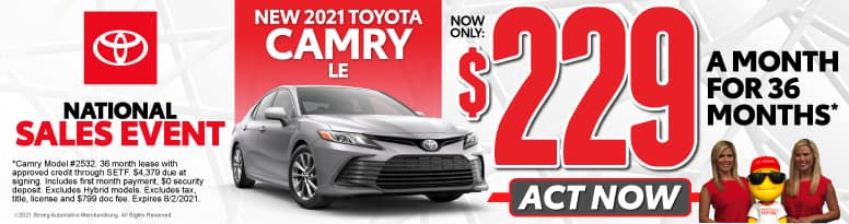 New 2021 Toyota Camry - Now Only $229 a month - Act Now