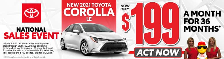 New 2021 Toyota Corolla - Now Only $199 a month - Act Now