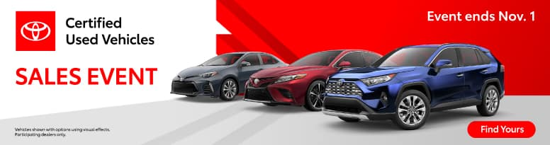 Certified Used Vehicles Sales Event - Event Ends November 1 - Find Yours