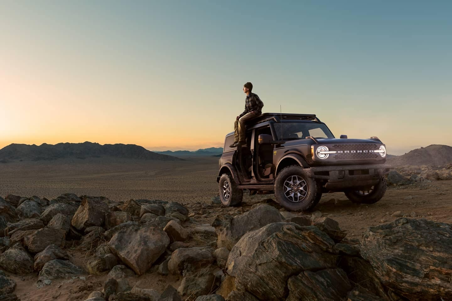 bronco and person in the desert