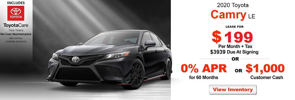 New 2020 Toyota Camry LE FWD 4dr Car Lease for $229 a mo + Tax  or Get 0% APR For 60 Mo. On Approved Credit