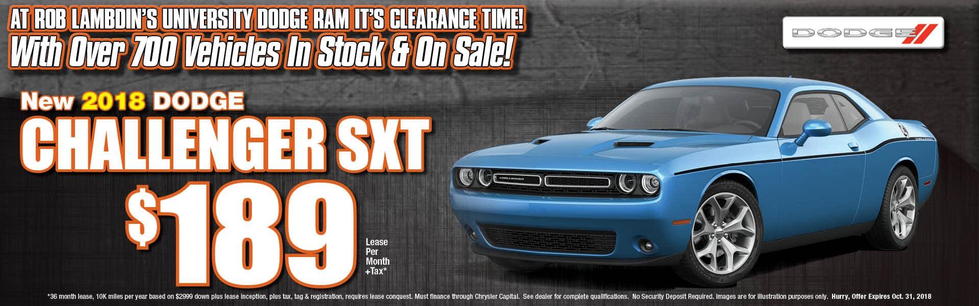 Challenger SXT Lease $189