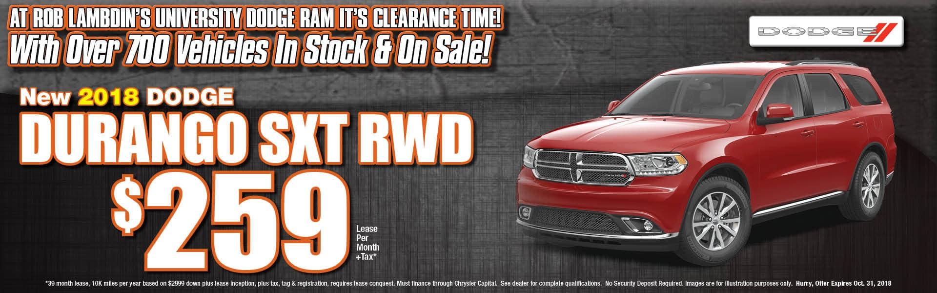Durango SXT Lease $259