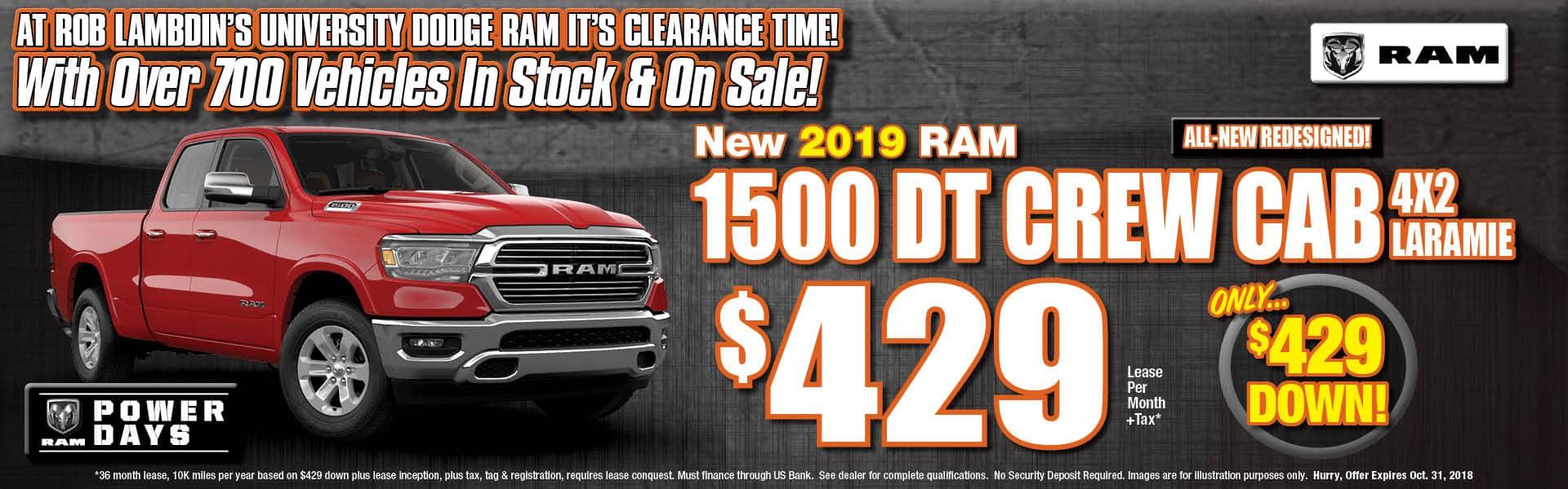 Ram Crew Laramie Lease $429