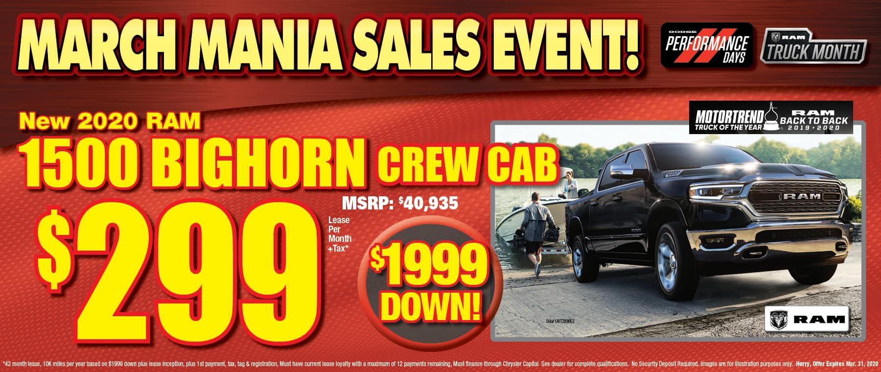 Nwq 2020 Ram Big Horn Crew Cabs!