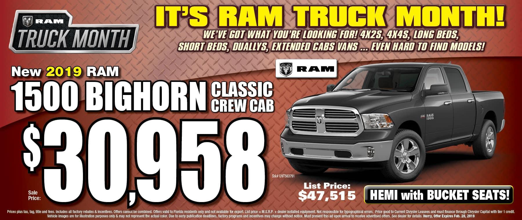 New 2019 Ram Bighorn Classic - University Dodge RAM!