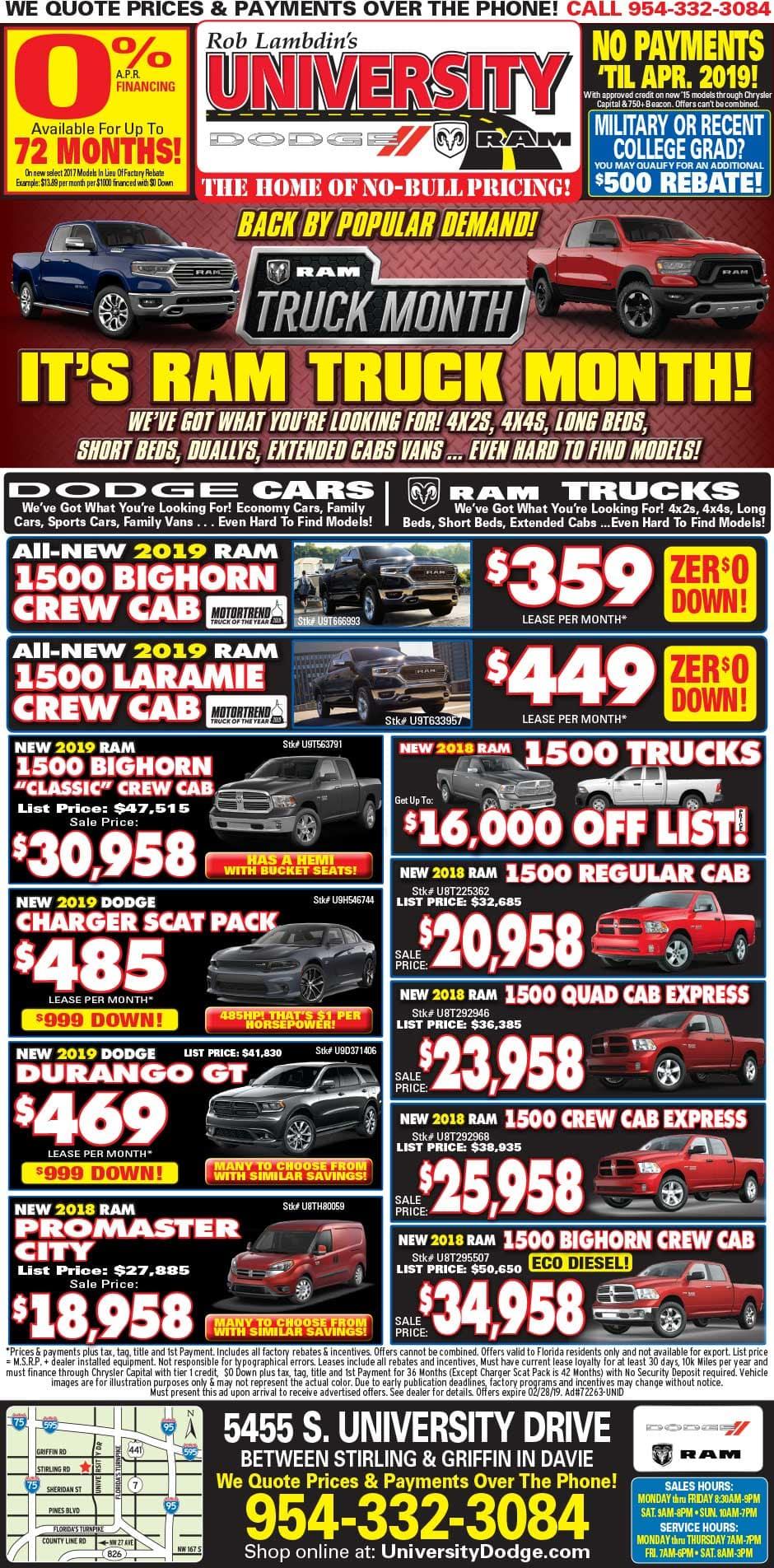 University Dodge Ram Davie - Weekly Specials!