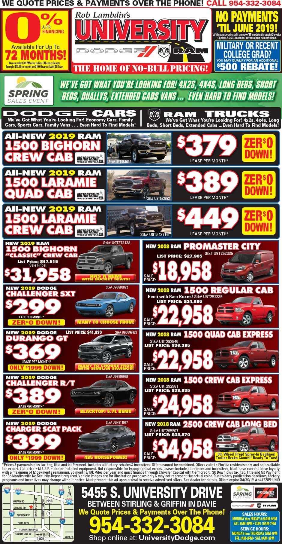 University Dodge/RAM Weekly Newspaper Specials!