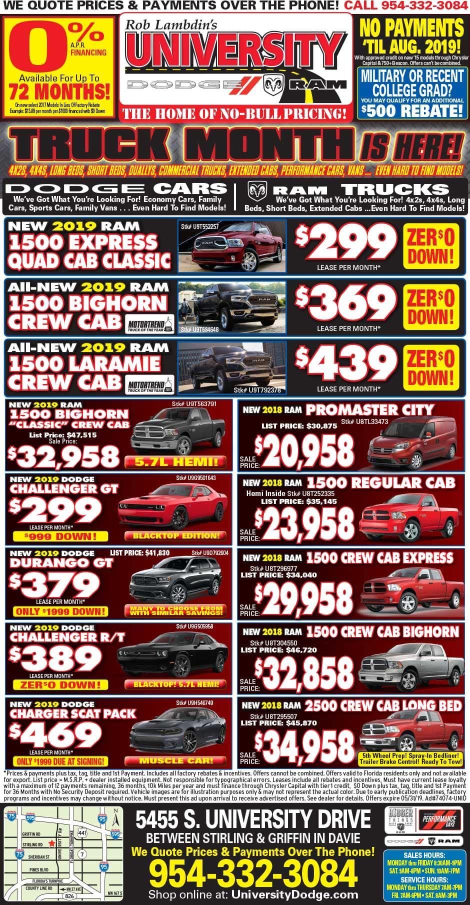 University Dodge RAM - Weekly Specials!