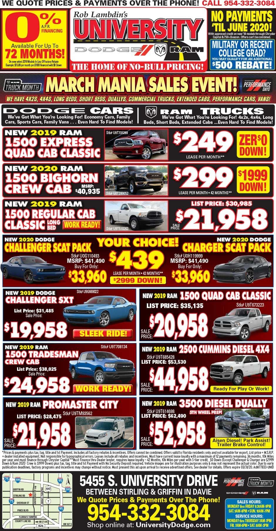 Newspaper Specials - University Dodge RAM