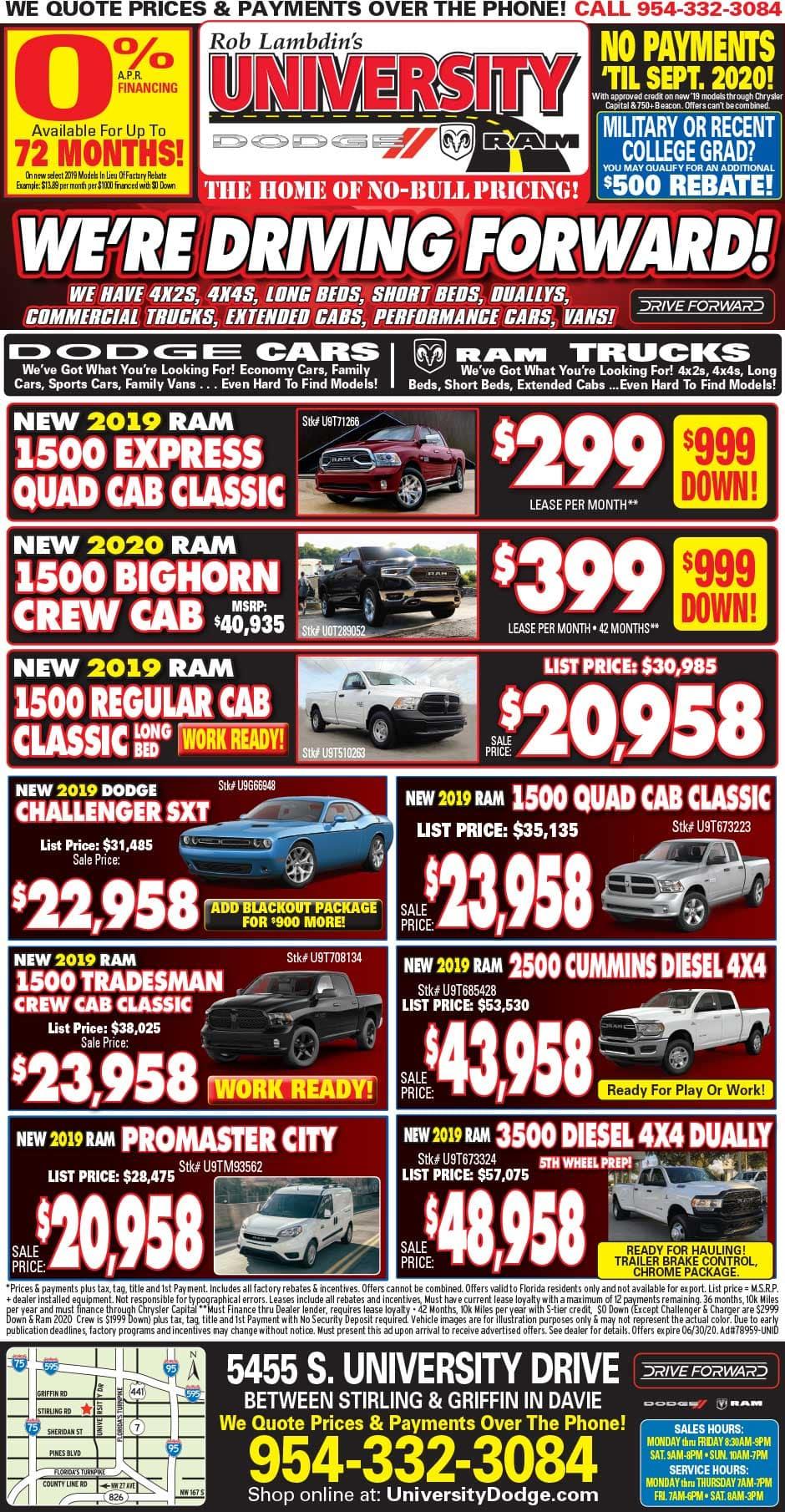 University Dodge RAM Newspaper Specials!
