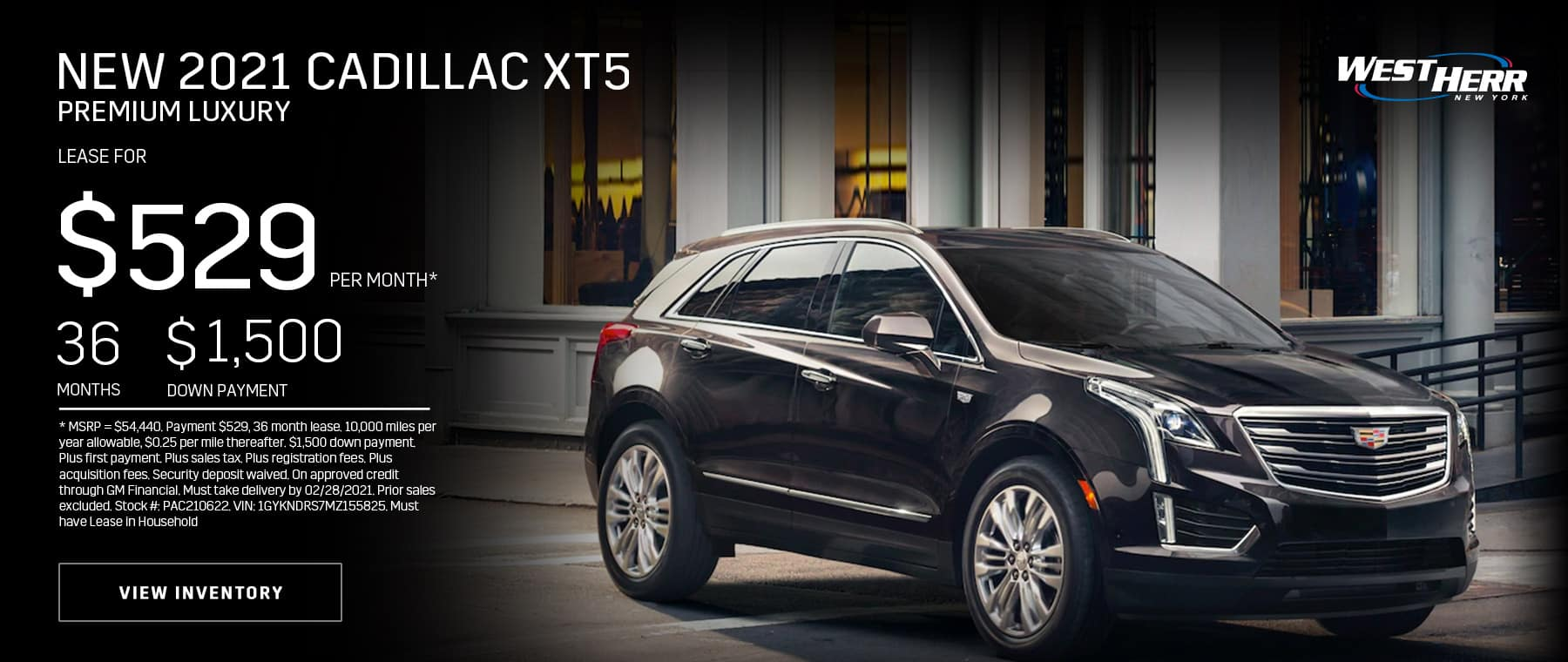 New 2021 Cadillac XT5 Premium Luxury: Lease for $529/mo for 36 months*