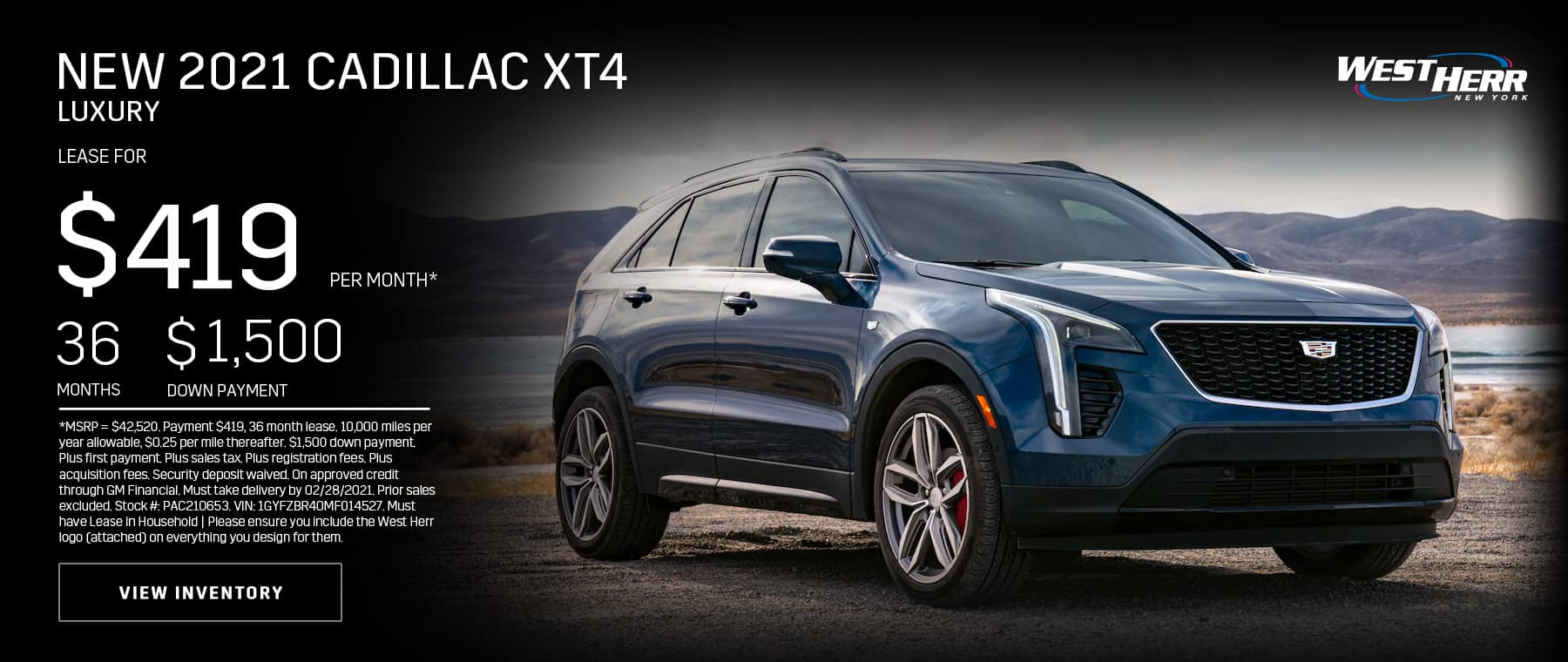 New 2021 Cadillac XT4 Luxury: Lease for $419/mo for 36 months
