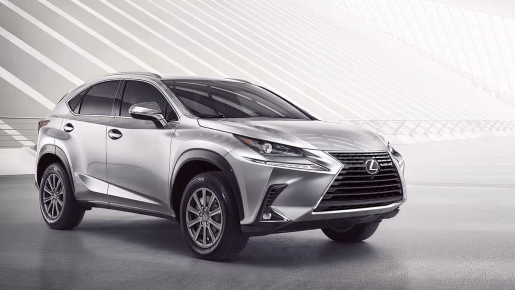 Image of a silver 2019 Lexus NX against a white background.